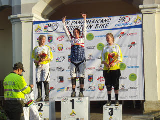 Jackie Harmony on the top step of the podium at Pan American games