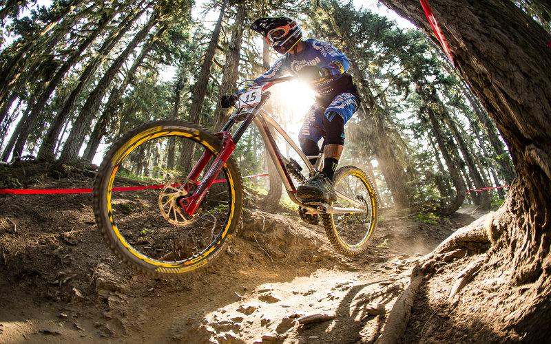 sam hill on his way to a garbonzo downhill victory