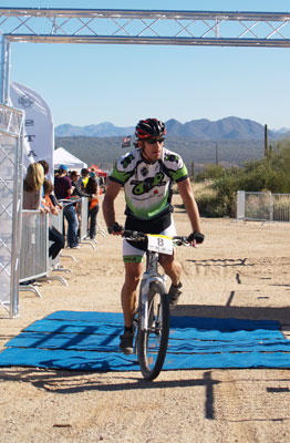bicycle world tv rider tom cooley finishing second.